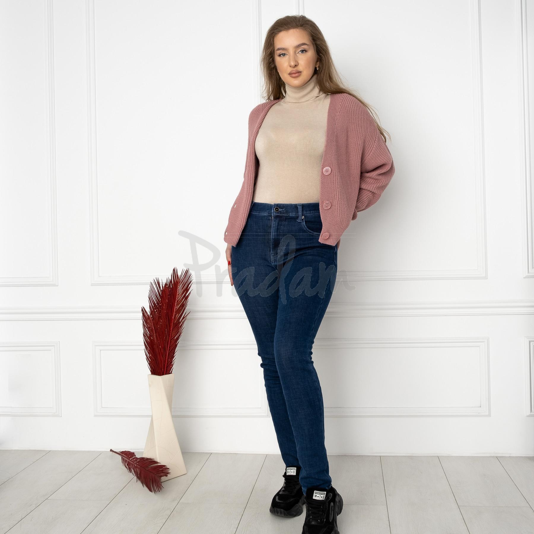 6022 New Jeans американка на флисе батальная синяя стрейчевая (6 ед.размеры: 31.32.33.34.35.36)