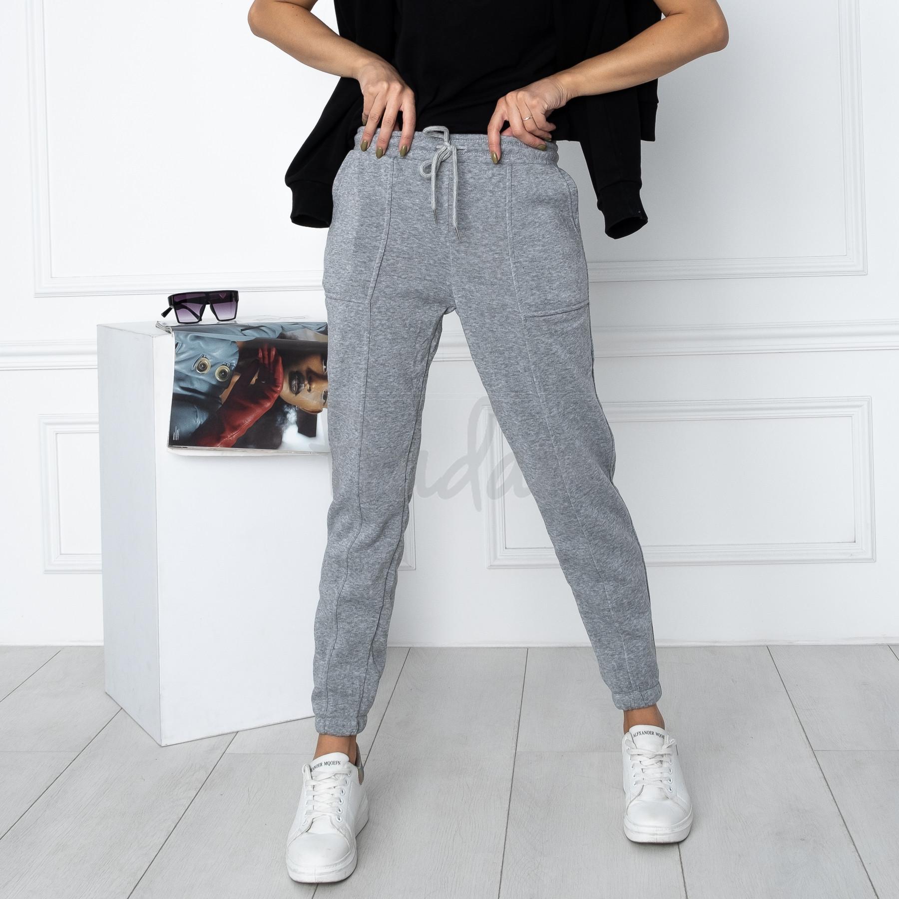 0011-6 серые спортивные штаны женские на флисе (6 ед.размеры: S.M.L.XL.XXL.3XL)