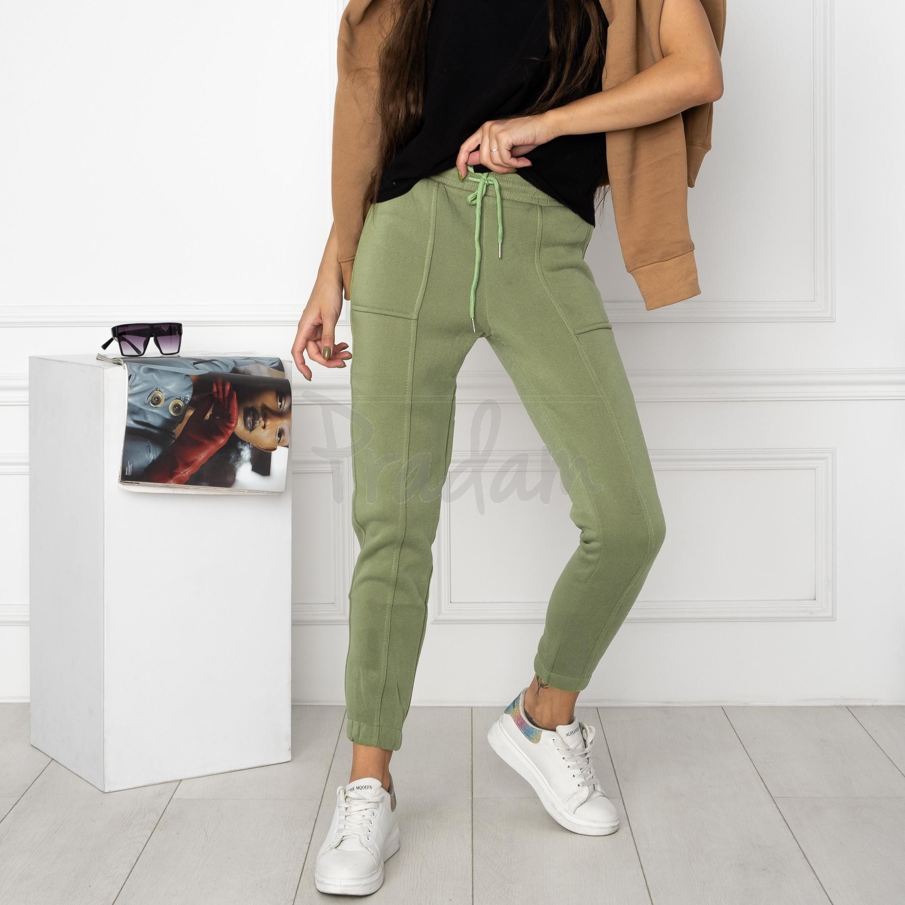 0011-4 хаки спортивные штаны женские на флисе (6 ед.размеры: S.M.L.XL.XXL.3XL)