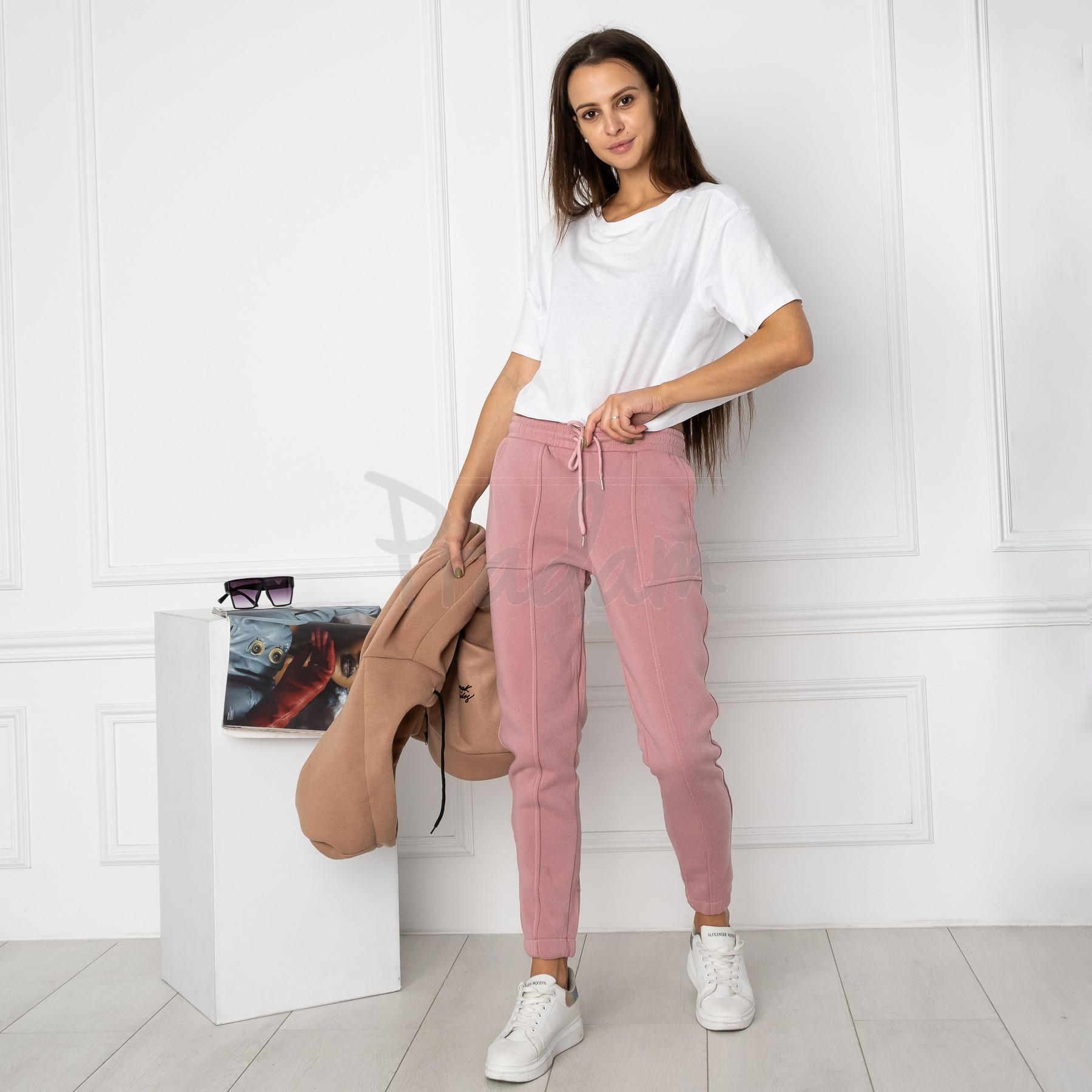 0011-2 розовые спортивные штаны женские на флисе (6 ед.размеры: S.M.L.XL.XXL.3XL)