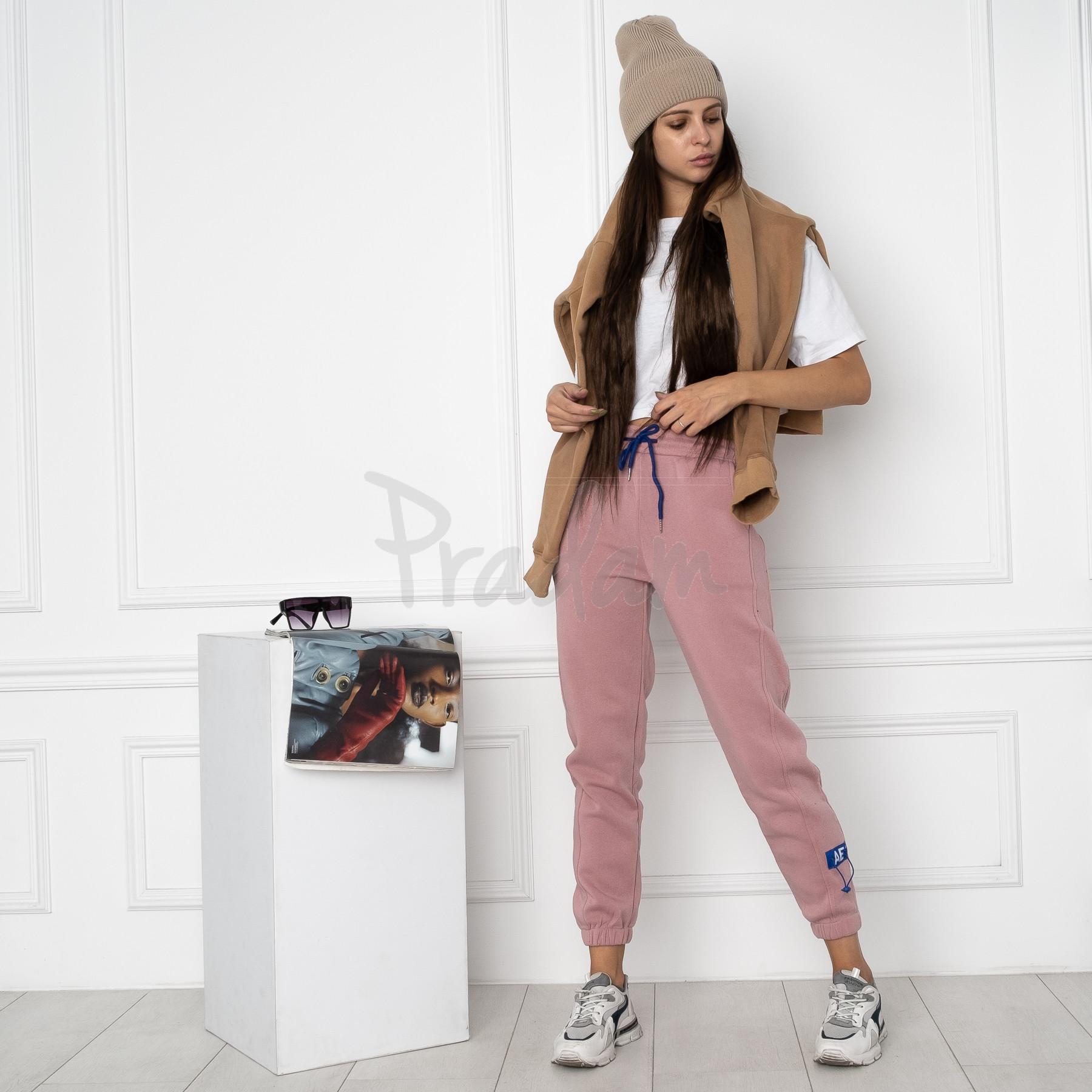 0010-2 розовые спортивные штаны женские на флисе (6 ед.размеры: S.M.L.XL.XXL.3XL)