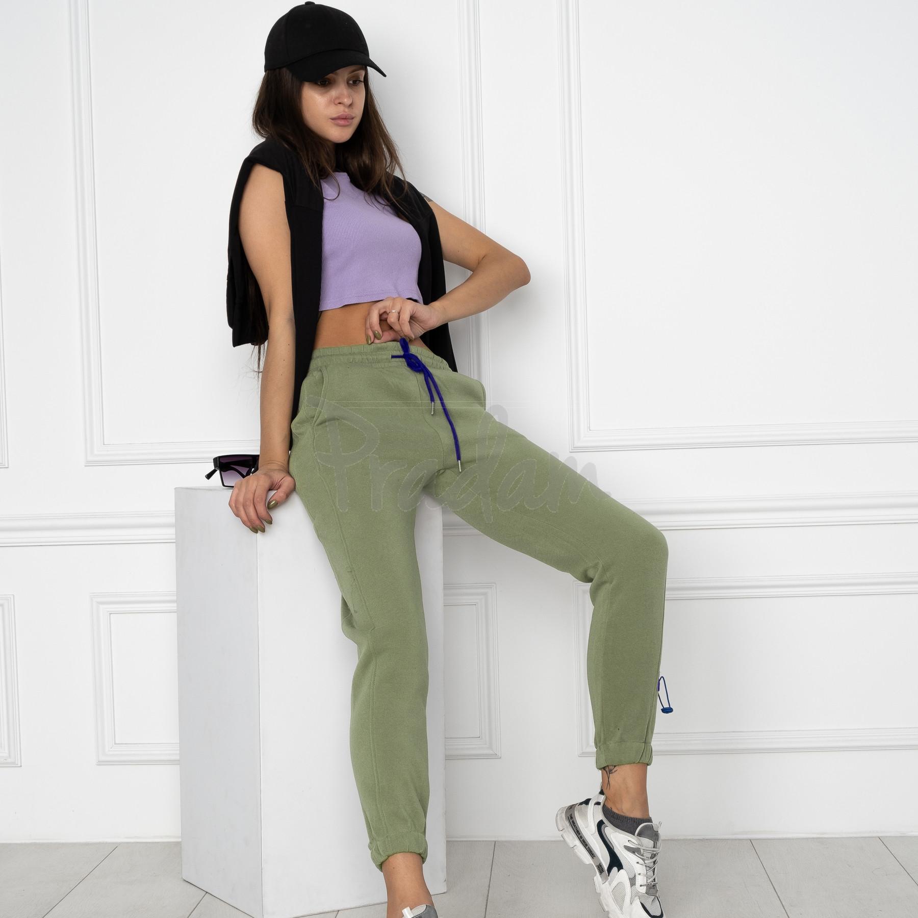 0010-4 хаки спортивные штаны женские на флисе (6 ед.размеры: S.M.L.XL.XXL.3XL)