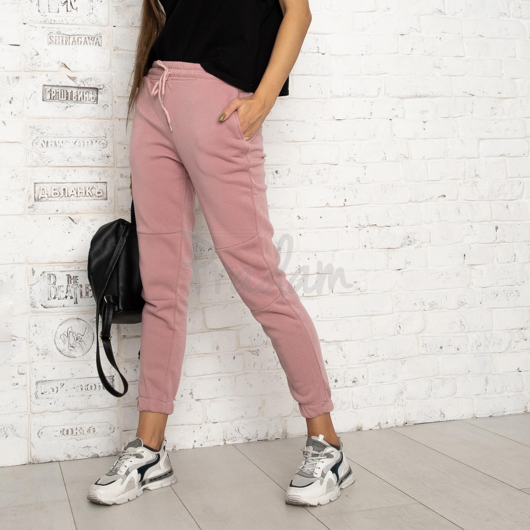 0012-2 розовые спортивные штаны женские на флисе (6 ед.размеры: S.M.L.XL.XXL.3XL)