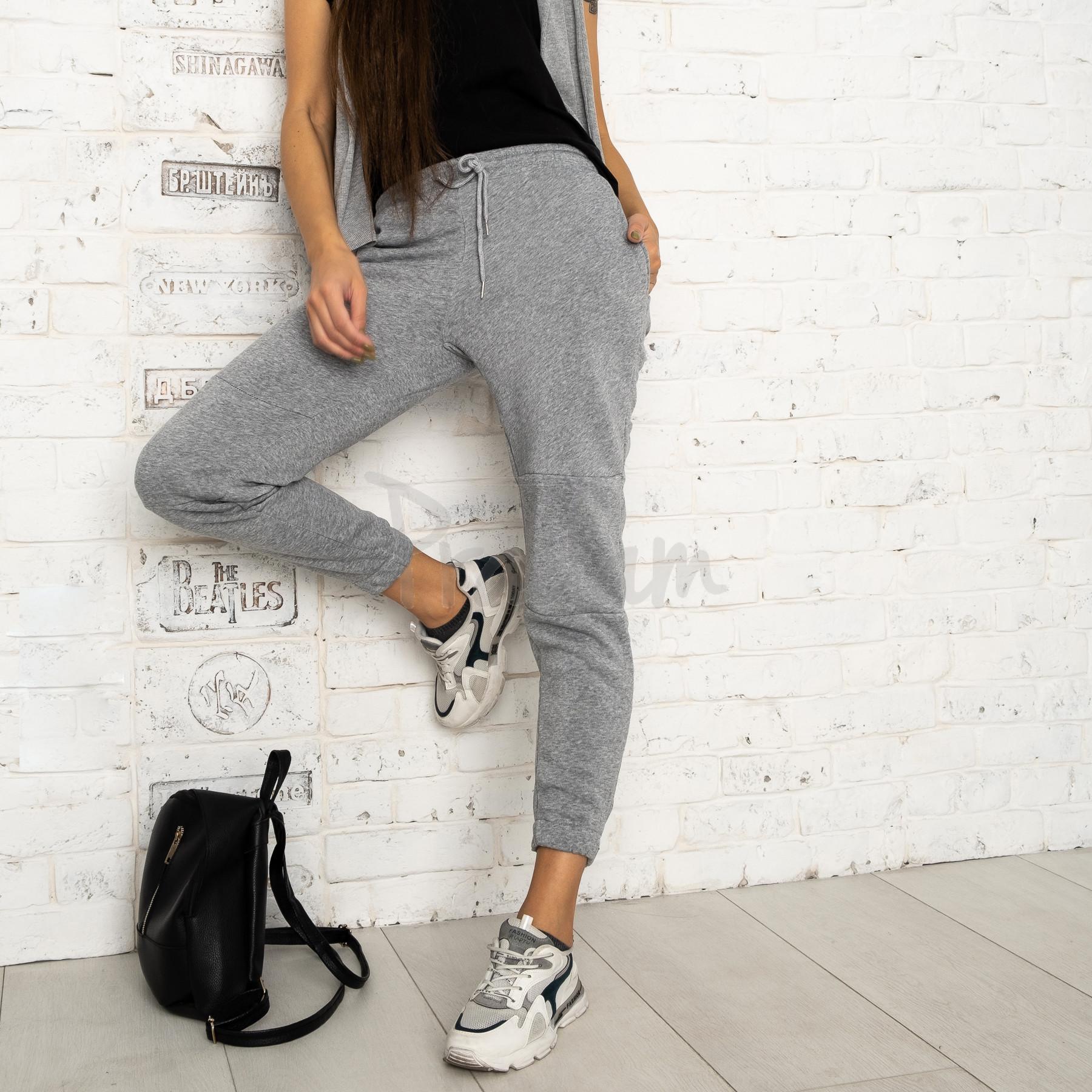 0012-6 серые спортивные штаны женские на флисе (6 ед.размеры: S.M.L.XL.XXL.3XL)