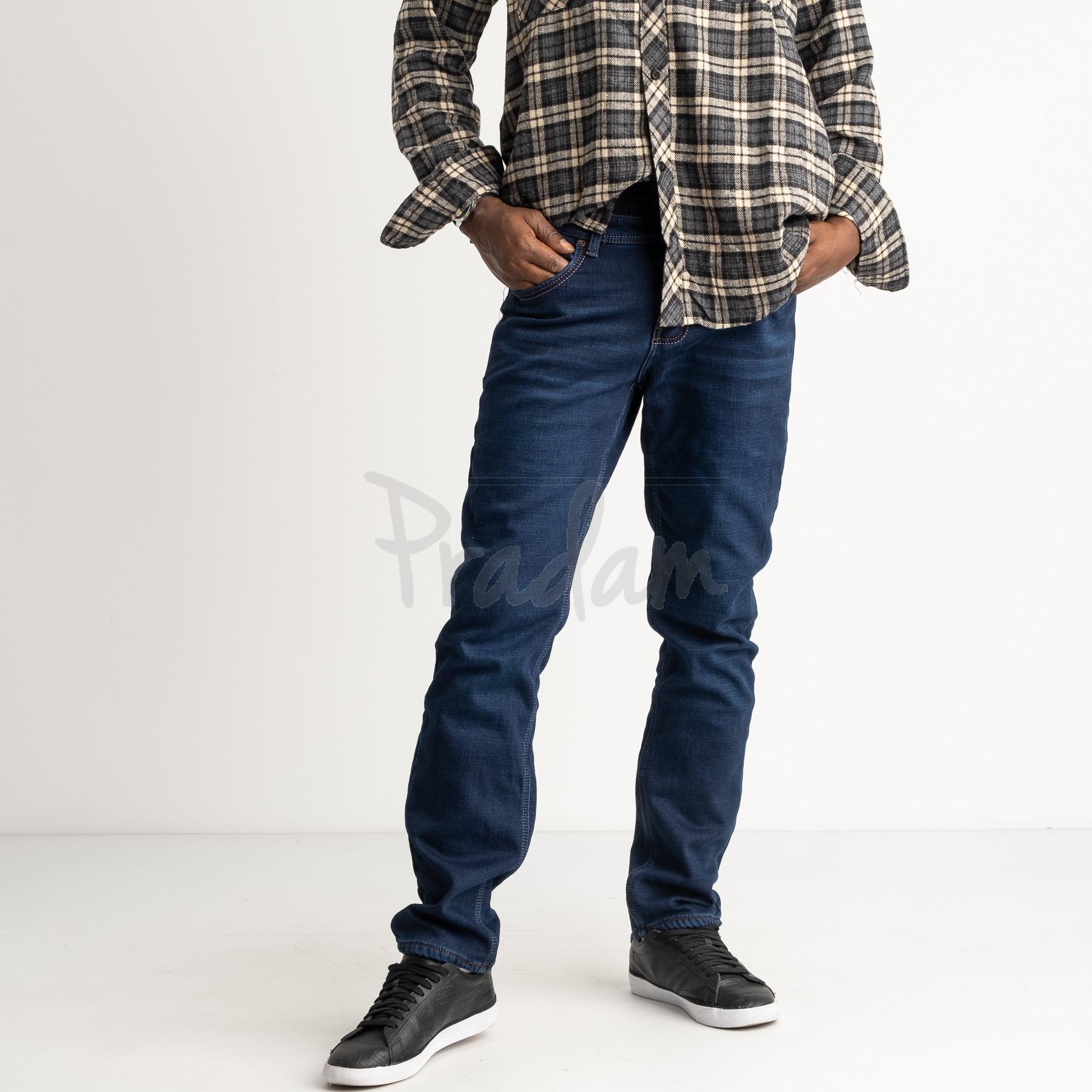 2142 Dsouaviet синие джинсы мужские на флисе стрейчевые  (8 ед. размеры: 29.30.31.32.33.34.36.38)