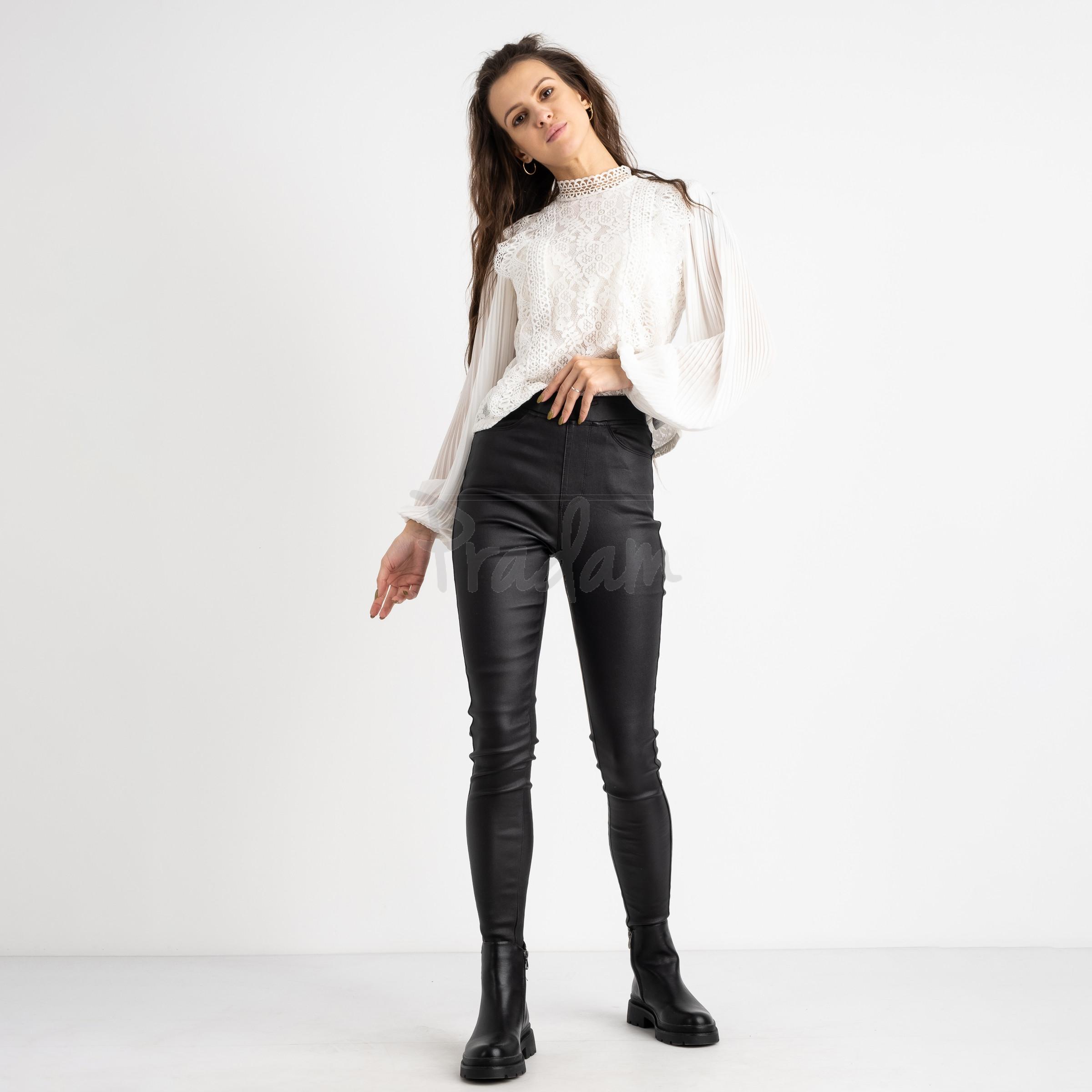 0784 Forest jeans черные брюки из экокожи женские на байке (6 ед.размеры: 25.26.27.28.29.30)