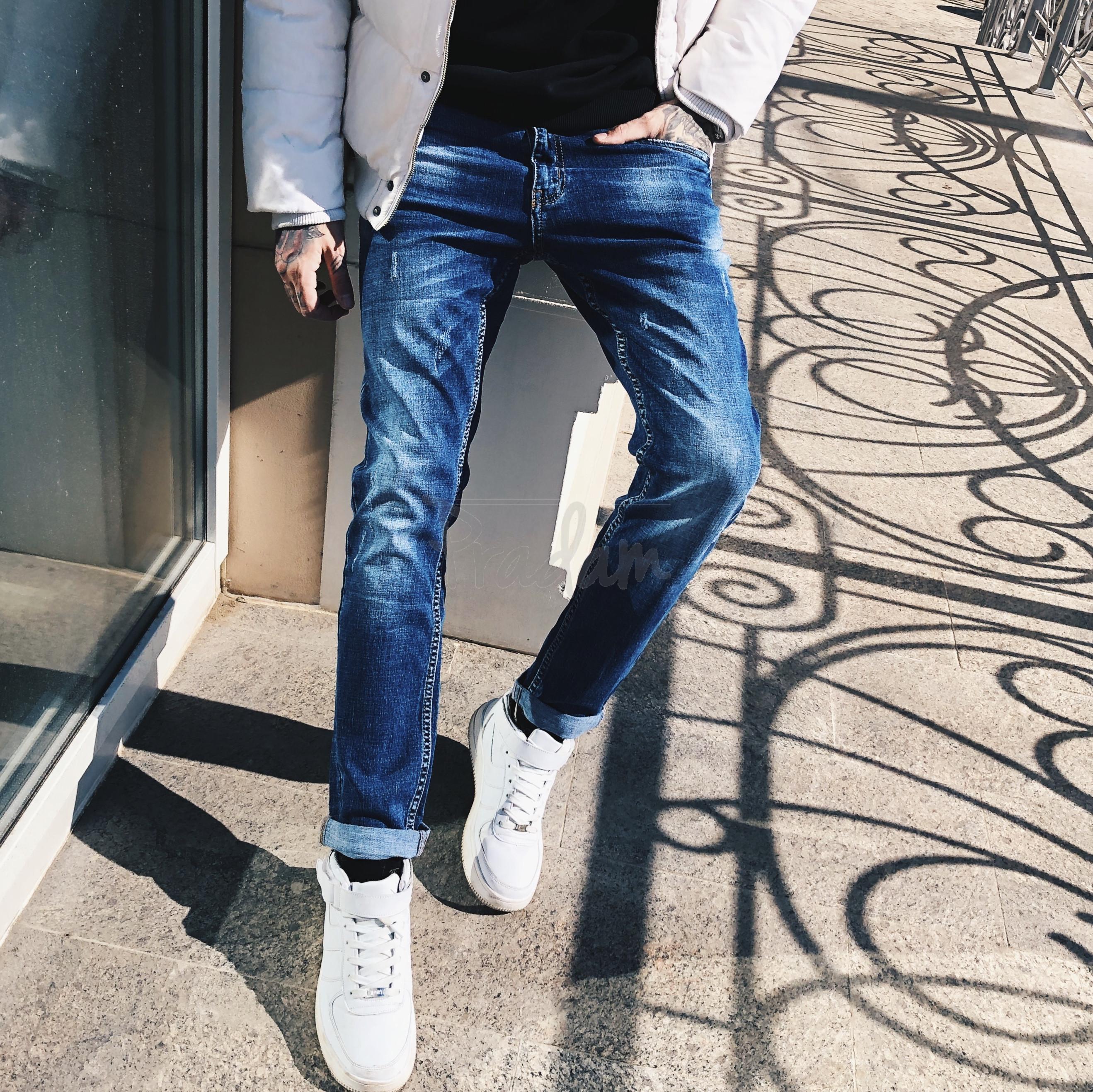 8005 Resalsa джинсы мужские молодежные с царапками весенние стрейчевые (27-2,28-2,29-2, 6 ед.)
