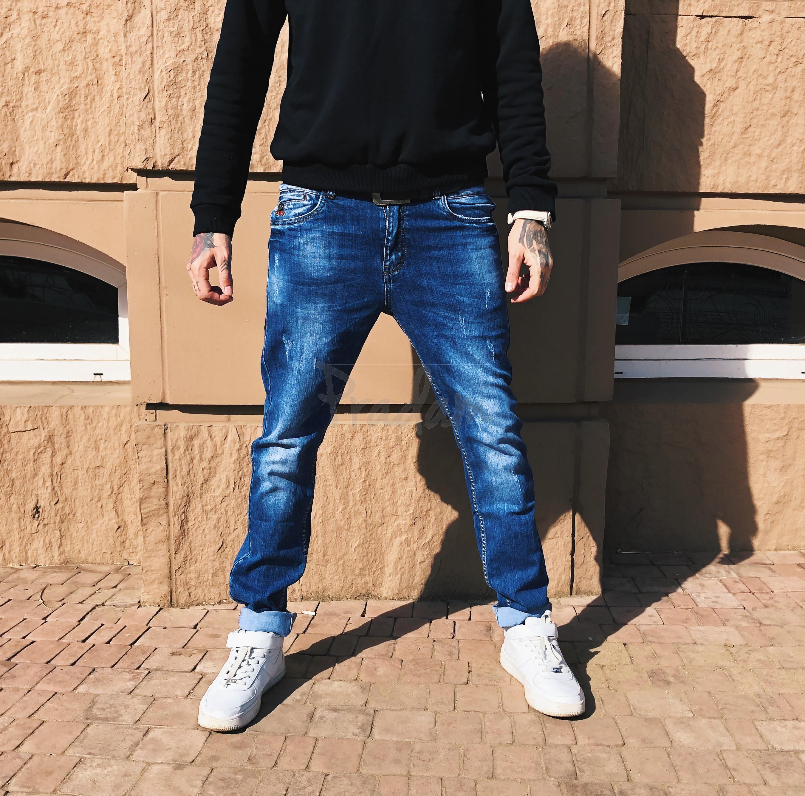 8052 Resalsa джинсы мужские с царапками весенние стрейчевые (29-2,30-2,31, 5 ед.)