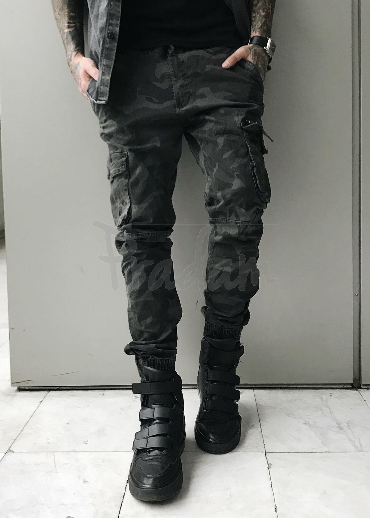8919-5 серые Iteno джоггеры мужские с боковыми карманами серый камуфляж весенние стрейч-котон (29-38, 10 ед.)
