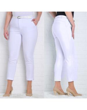 9781-B белые Moon girl брюки женские батальные 7/8 весенние стрейчевые (30-36, 6 ед.)