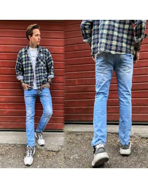 2336 Dark Blue джинсы мужские с царапками синие весенние стрейчевые (29-36, 8 ед.)