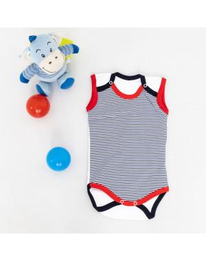 17073-01 Emotion kids белый в синюю полоску боди на мальчика 3-12 мес. (3 ед. размеры: 68.74.80)