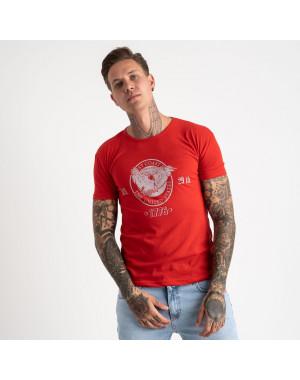 2607-3 красная футболка мужская с принтом (4 ед. размеры: M.L.XL.2XL)