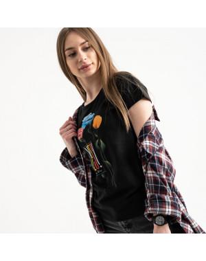 2582-1 черная футболка женская с принтом (3 ед. размеры: S.M.L)