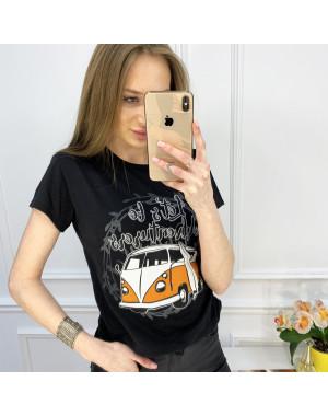2503-1 Akkaya черная футболка женская с принтом стрейчевая (4 ед. размеры: S.M.L.XL)