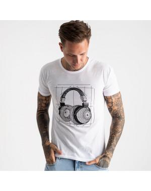 2627-10 белая футболка мужская с принтом (4 ед. размеры: M.L.XL.2XL)