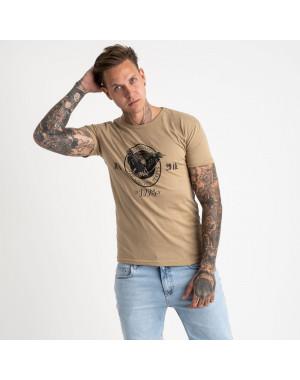 2607-11 бежевая футболка мужская с принтом (4 ед. размеры: M.L.XL.2XL)