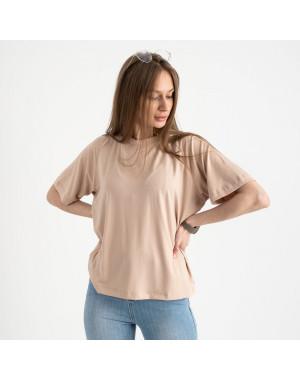 14440-3 Mishely бежевая футболка женская в стиле oversize  (4 ед. размеры: S.M.L.XL)