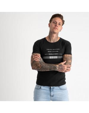 2619-1 черная футболка мужская с принтом (4 ед. размеры: M.L.XL.2XL)