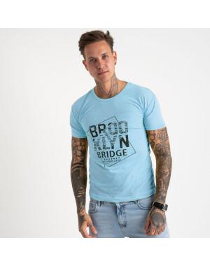 2622-13 светло-голубая футболка мужская с принтом (4 ед. размеры: M.L.XL.2XL)