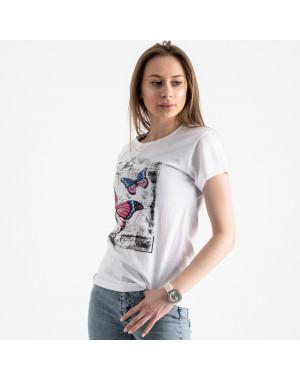 2507-10 Akkaya белая футболка женская с принтом стрейчевая (4 ед. размеры: S.M.L.XL)