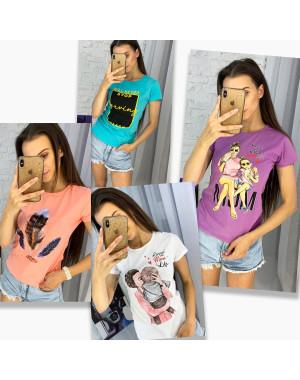 3704-99 футболка женская микс  моделей и цветов без выбора цветов (20 ед. размеры: универсал 42-44)