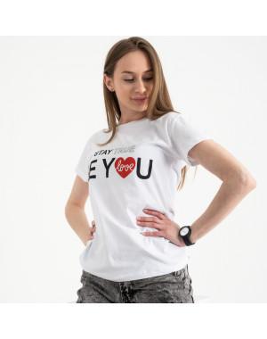 2502-10 Akkaya белая футболка женская с принтом стрейчевая (4 ед. размеры: S.M.L.XL)