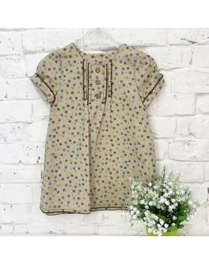1325-2 платье льняное бежевое на девочку 2-4 года (3 ед.размеры: 92.98.104)