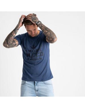 2613-14 темно-синяя футболка мужская с принтом (4 ед. размеры: M.L.XL.2XL)