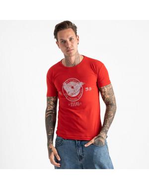 2606-3 красная футболка мужская с принтом (4 ед. размеры: M.L.XL.2XL)