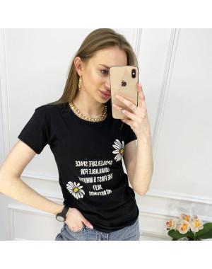 2519-1 Akkaya черная футболка женская с принтом стрейчевая (4 ед. размеры: S.M.L.XL)