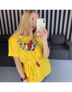 1820 желтая футболка-вышиванка женская микс моделей (5 ед. размеры: S.M.L.XL.2XL)