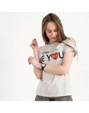 2502-5 Akkaya серая футболка женская с принтом стрейчевая (4 ед. размеры: S.M.L.XL)