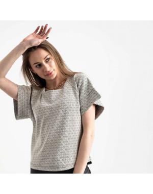 60143 City блузка женская черно-белая трикотажная с узором (40-46, 6 ед.)