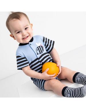 17063 Emotion Kids синий комплект (комбинезон+шапочка) на мальчика 1-9 мес.(6 ед. размеры: 62.62.68.68.74.74)