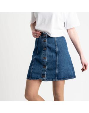 3082 юбка джинсовая на пуговицах синяя котоновая (4 ед. размеры: 24.26.28.30)