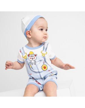17064 Emotion Kids голубой комплект (комбинезон+шапочка) на мальчика 1-9 мес (6 ед. размеры: 62.62.68.68.74.74)