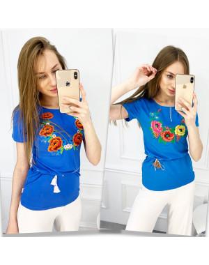 1822 голубая футболка-вышиванка женская микс моделей (5 ед. размеры: S.M.L.XL.2XL)