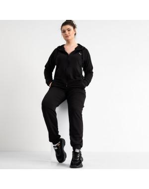 15111-4 черный женский спортивный костюм батальный из двунитки (4 ед. размеры: 50.52.54.56)