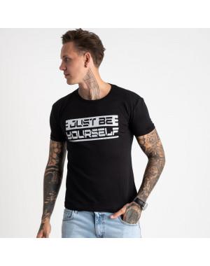 2620-1 черная футболка мужская с принтом (4 ед. размеры: M.L.XL.2XL)