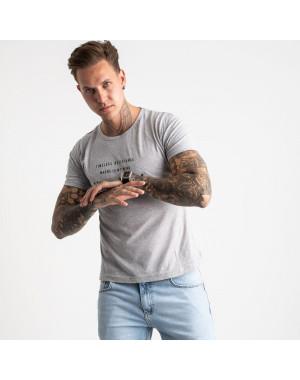 2619-5 светло-серая футболка мужская с принтом (4 ед. размеры: M.L.XL.2XL)