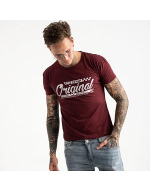 2617-9 бордовая футболка мужская с принтом (4 ед. размеры: M.L.XL.2XL)