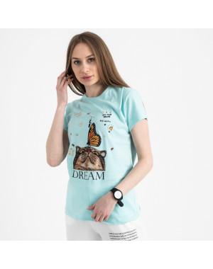 2516-4 Akkaya бирюзовая футболка женская с принтом стрейчевая (4 ед. размеры: S.M.L.XL)
