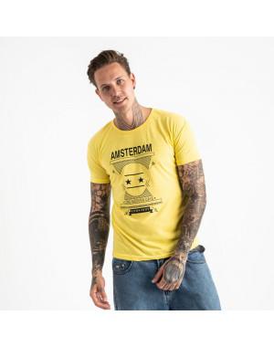 2604-6 желтая футболка мужская с принтом (4 ед. размеры: M.L.XL.2XL)