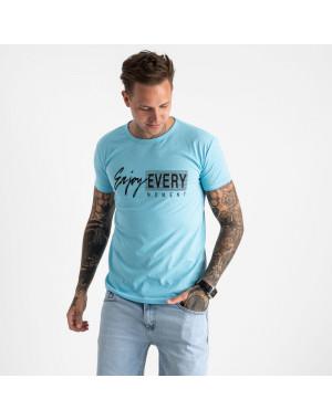 2616-13 голубая футболка мужская с принтом (4 ед. размеры: M.L.XL.2XL)