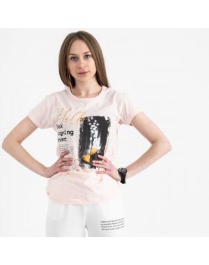 2504-2 Akkaya розовая футболка женская с принтом стрейчевая (4 ед. размеры: S.M.L.XL)