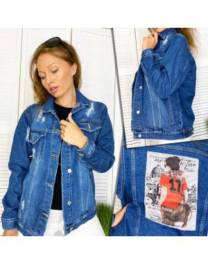 Куртка джинсовая женская с нашитым принтом осенняя котоновая Xray 2950-14