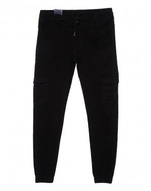 6011 Baron брюки мужские молодежные черные на манжете весенние стрейчевые (27-34, 8 ед.)