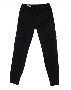 6813 Baron брюки мужские молодежные черные на манжете весенние стрейчевые (28-36, 8 ед.)