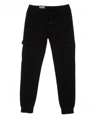 6007-1 Baron брюки мужские молодежные черные на манжете весенние стрейчевые (27-34, 8 ед.)